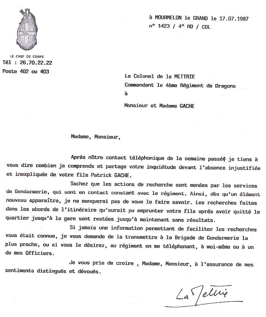 modele de lettre reponse a une demande d explication Disparus de Mourmelon : courriers modele de lettre reponse a une demande d explication